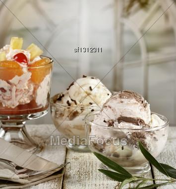 Ice Cream And Fruit Desserts Stock Photo