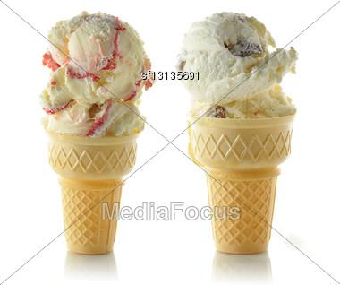 Ice Cream Cons On White Background Stock Photo