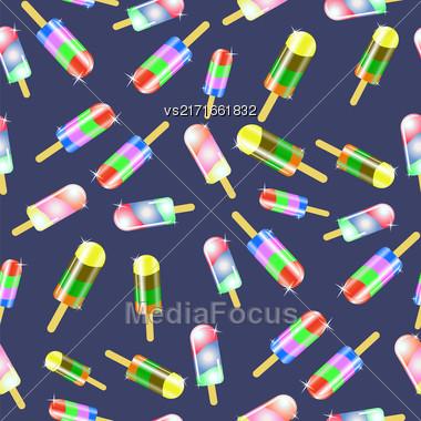 Ice Cream Seamless Pattern On Blue Background Stock Photo