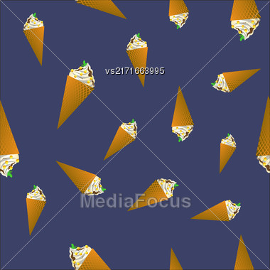 Ice Cream Seamless Pattern On Blue Background Stock Photo