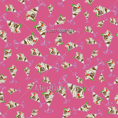 Ice Cream Seamless Pattern On Pink Background Stock Photo