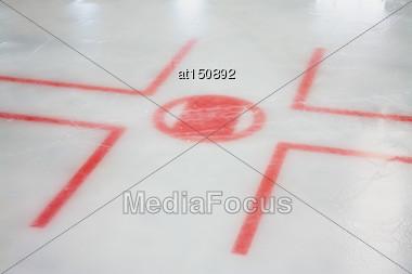 Ice Hockey Lines. Hockey Face Off Lines Stock Photo