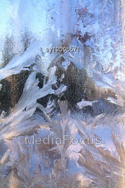 Ice On Window Stock Photo