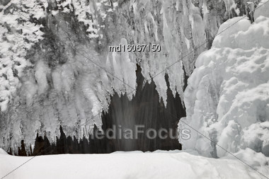 Ice And Water Tangle Falls Rocky Mountains Alberta Stock Photo