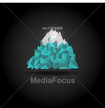 Iceberg Icon On Black Background. Vector Mountain Logo Sign Stock Photo