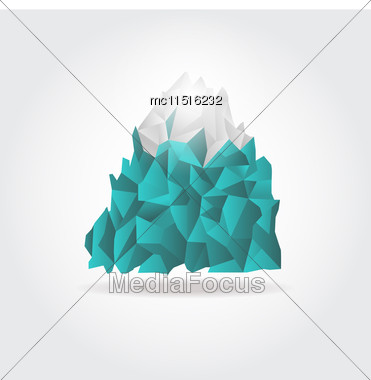 Iceberg Icon On White Background. Vector Mountain Logo Sign Stock Photo