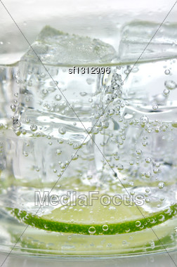 Iced Drink With Lemon , Close Up Stock Photo