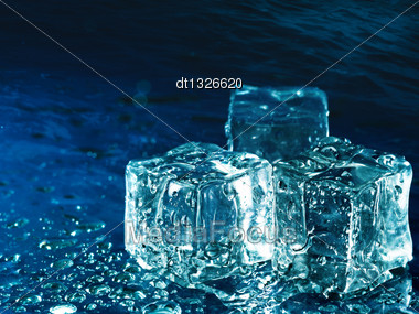 Iced Water Against Abstract Blue Backgrounds For Your Design Stock Photo