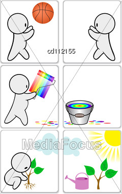 Icon With The Little Man Occupied A Variety Of Activities Stock Photo
