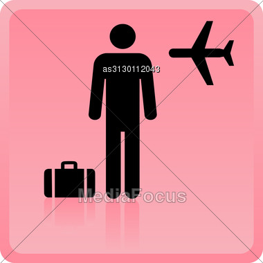 Icon Of The Person At The Airport With Luggage Stock Photo