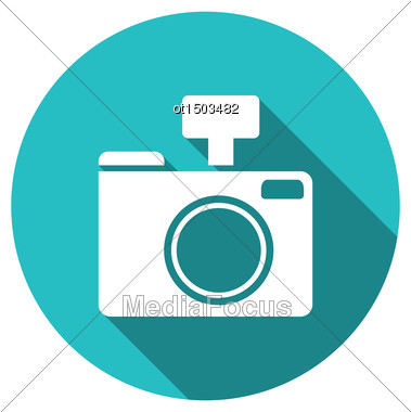 Icon Photo Camera White Cuted On Blue Round Backdrop With Long Shadow, Metro Style - Vector Stock Photo