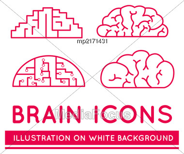 Icons Of Brains In Different Styles. Vector Illustration On White Background Stock Photo