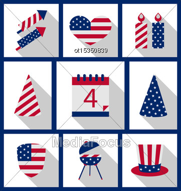 Icons Set USA Flag Color Independence Day 4th Of July Patriotic Symbolic Decoration For Holiday Or Celebration Backgrounds - Vector Stock Photo