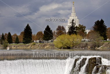 Idaho Falls In Springtime River Cascading Water Morman Church Stock Photo