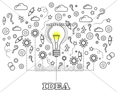 Idea Concept With Light Bulb And Doodle Sketches Creative, Technology Icons Stock Photo