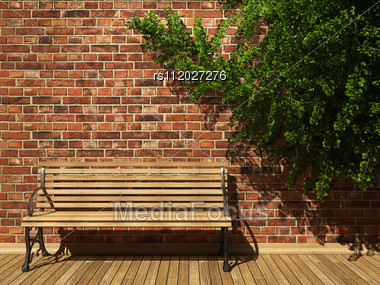 Illuminated Brick Wall And Ivy Made In 3D Graphics Stock Photo