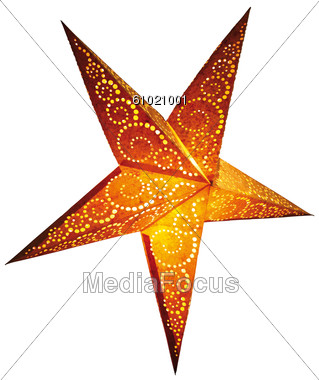 Illuminated Paper Star Stock Photo
