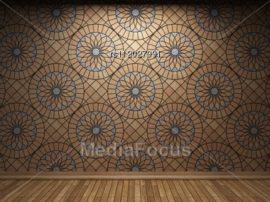 Illuminated Tile Wall Made In 3D Graphics Stock Photo