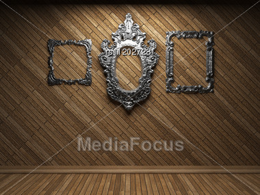Illuminated Wooden Wall And Frame Made In 3D Stock Photo