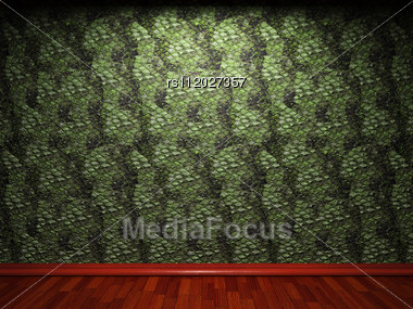 Illuminated Wooden Wall Made In 3D Graphics Stock Photo