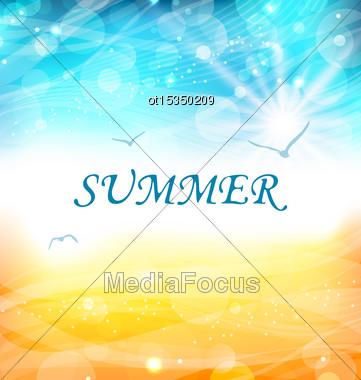 Illustartion Summer Holiday Background, Glowing Wallpaper - Vector Stock Photo