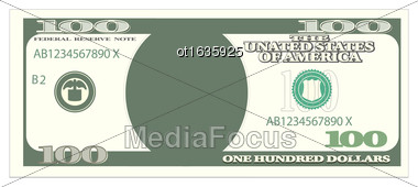 Illustration 100 Dollar Banknote Isolated On White Background, One Hundred Denomination - Vector Stock Photo