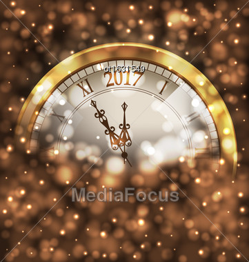Illustration 2017 New Year Midnight, Glowing Background With Clock - Vector Stock Photo