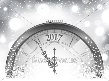 Illustration 2017 New Year Midnight, Snowing Background With Clock - Vector Stock Photo