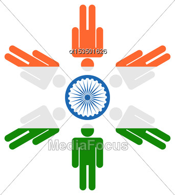 Illustration Abstract Background For Indian Holidays With Human Icons And Ashoka Wheel - Vector Stock Photo