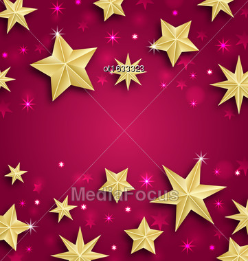 Illustration Abstract Background Made Of Golden Stars. Copy Space For Your Text - Vector Stock Photo