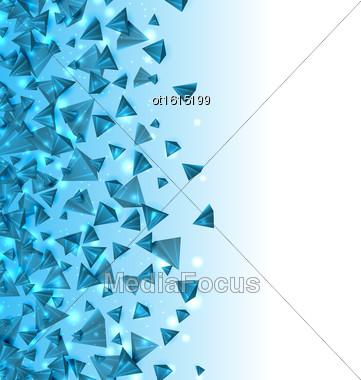 Illustration Abstract Background With Pyramids With Light Effects. Modern Design With Geometric Figures - Vector Stock Photo