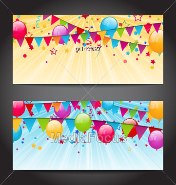 Illustration Abstract Banners With Colorful Balloons, Hanging Flags And Confetti - Vector Stock Photo