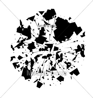 Illustration Abstract Black Explosion On White Background - Vector Stock Photo