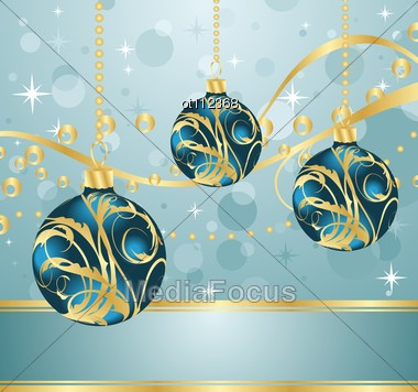 Abstract Blue Background With Christmas Balls Stock Photo