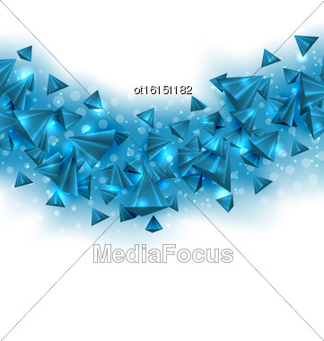 Illustration Abstract Blue Background With Pyramids And Light Effects. Copy Space For Your Text - Vector Stock Photo