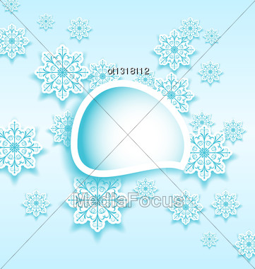 Illustration Abstract Bubble With Set Snowflakes - Vector Stock Photo