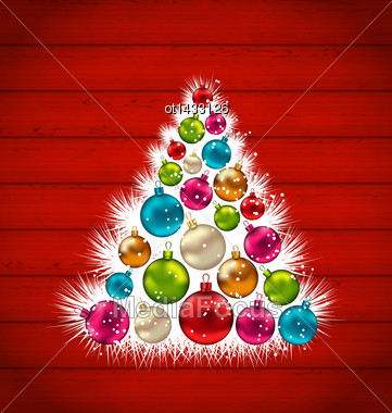 Illustration Abstract Christmas Tree And Colorful Balls On Wooden Background - Vector Stock Photo