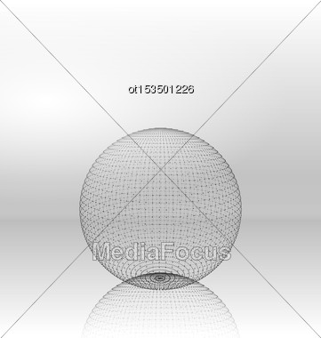 Illustration Abstract Circle With Mesh Polygonal Elements, Lines And Dots, Shape With Reflection - Vector Stock Photo