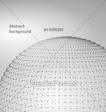 Illustration Abstract Circle With Mesh Polygonal Elements, Lines And Dots - Vector Stock Photo
