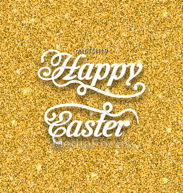 Illustration Abstract Easter Card With Hand Written Phrase. Greeting Card Templates With Easter Text. Happy Easter Lettering - Vector Stock Photo