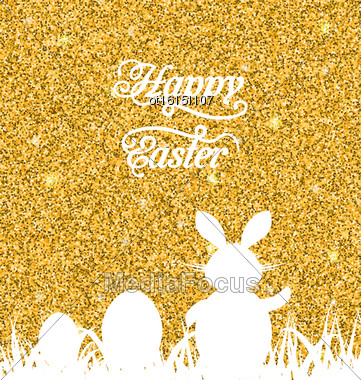 Illustration Abstract Easter Sparkle Background With Rabbit, Eggs, Grass. Celebration Luxury Card Or Invitation. Happy Easter Lettering - Vector Stock Photo