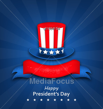 Illustration Abstract Flyer With Uncle Sam's Hat For Happy Presidents Day Of USA - Vector Stock Photo