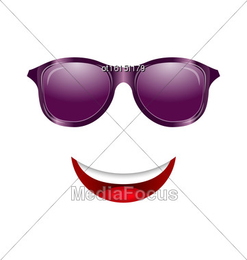 Illustration Abstract Fun Face With Mouth And Sunglasses - Vector Stock Photo