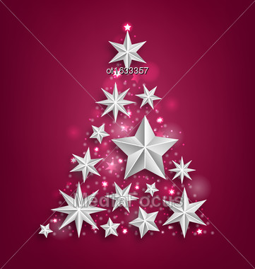Illustration Abstract Garland Made Of Silver Stars For Happy New Year 2017 - Vector Stock Photo