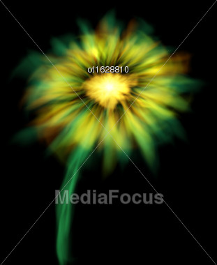 Illustration Abstract Glowing Flower Isolated On Black Background - Vector Stock Photo