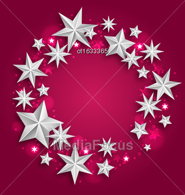Illustration Abstract Greeting Round Frame Made Of Silver Stars. Copy Space For Your Text - Vector Stock Photo