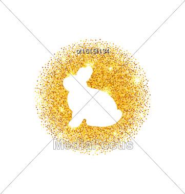 Illustration Abstract Happy Easter Golden Glitter Rabbit. Easter Shining Template Design - Vector Stock Photo