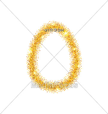 Illustration Abstract Happy Easter Golden Glitter Egg With Place For Your Text. Easter Shining Template Design - Vector Stock Photo
