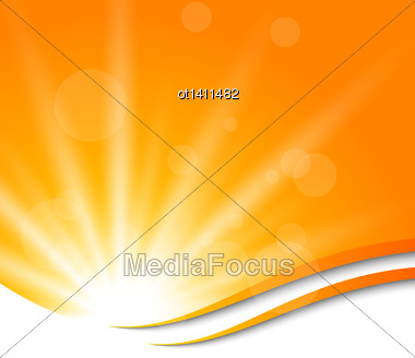 Illustration Abstract Orange Background With Sun Light Rays - Vector Stock Photo