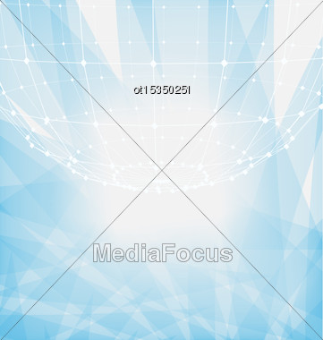 Illustration Abstract Particles Of Circle With Mesh Polygonal Elements For Business Presentations - Vector Stock Photo